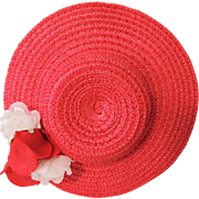 Sweet Tagged Madame Alexander Red Straw Replacement Hat