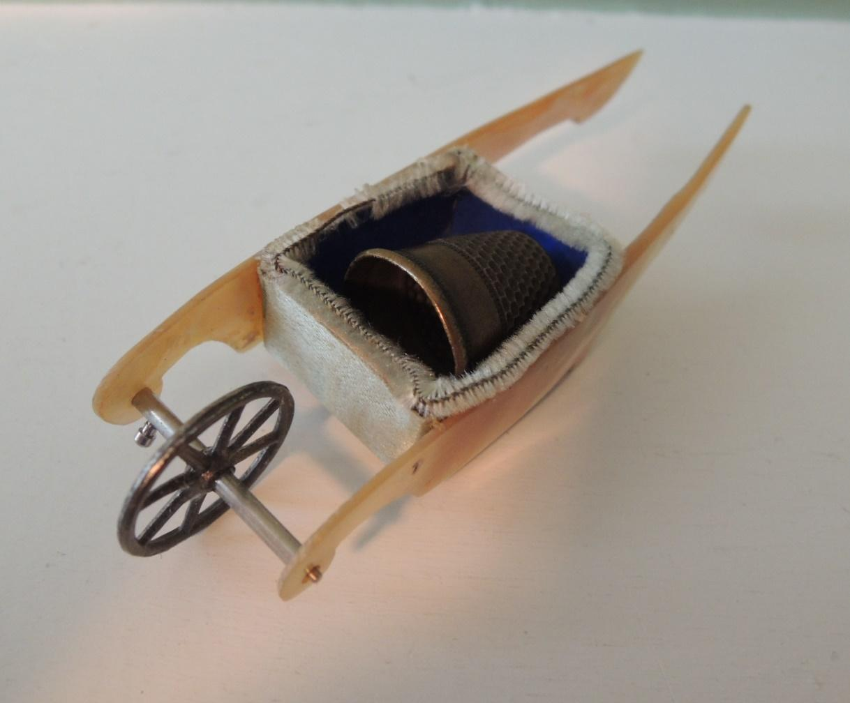 Sweet Mother Of Pearl Thimble Holder Wheel Barrow