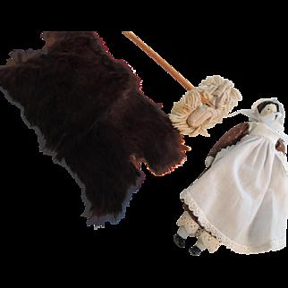 Doll House Fur Animal Rug, Doll & Mop