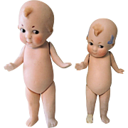 Darling Pair German All Bisque Kewpie Types Needing Some TLC