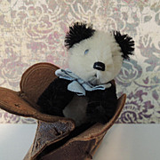 Darling Schuco Panda Bear In Old Shoe