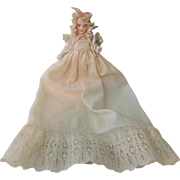 Lovely Parian Stone Bisque Doll In Fabulous Christening Outfit