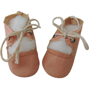 Nice Pink Oil Cloth Tie Shoes for Compo or Bisque Dolls