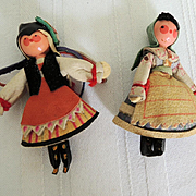Pair of Miniature Wood Dolls from Poland with Detailed Costumes