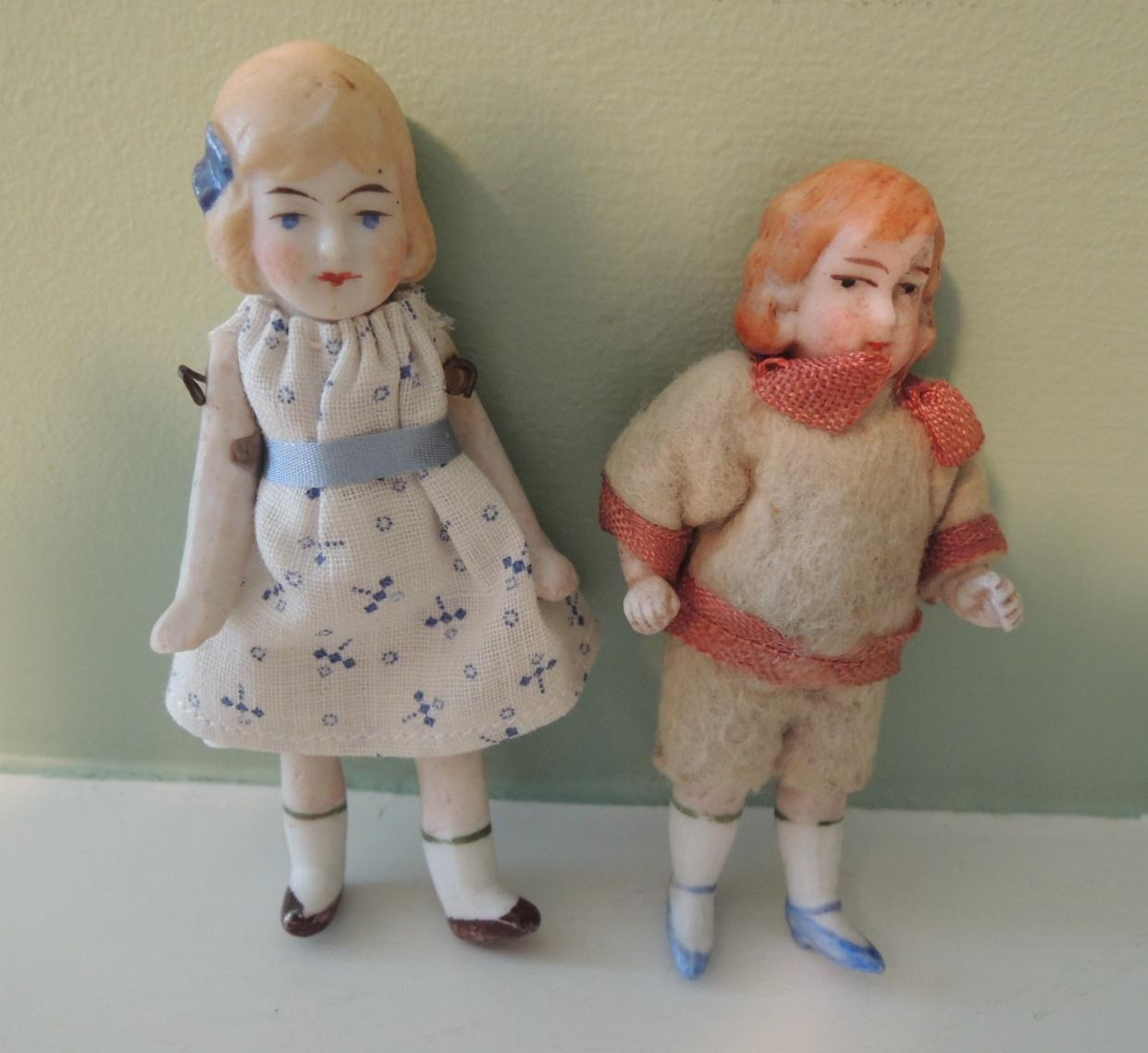 Two All Bisque Boy and Girl for Doll House or Display