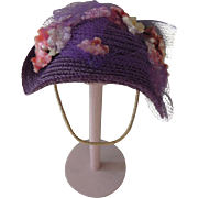 "Darling Alexander-kins Purple Straw Hat for 8 Inch ""Southern Belle"" 1956"
