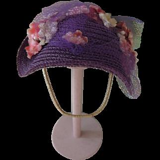 "Darling Alexander-kins Purple Straw Hat for 8 Inch ""Southern Belle"" 1956"