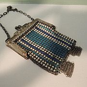 Lovely Doll Size Blue Enamel Mesh Purse