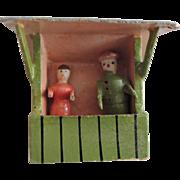 Tiny German Erzgebridge Putz Figures In Shelter