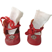 Nice Red Oilcloth Tie Shoes & Socks for Bisque or Composition Dolls