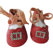 Nice Pair of Red Oil Cloth Shoes for Bisque or Composition Dolls