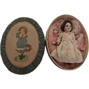 Tiny Unis France French Doll In Lovely Oval Decorated Box