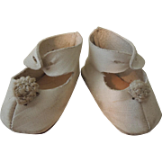 Nice White Leather Doll Shoes for German or French Doll
