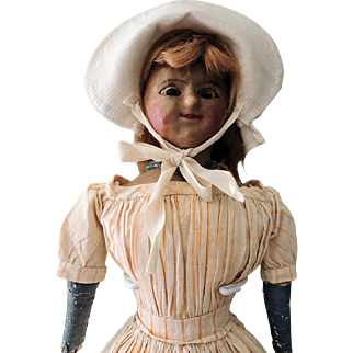 Early English Slit - Head Wax Doll with Lever Eyes