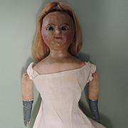 Lovely Twenty Inch Early Lever Eyed Slit Wax Doll