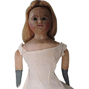 Lovely Twenty Inch Early Lever Eyed Slit Wax Doll