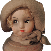 Lovely Deco Brown Eyed Doll Head Hat Stand