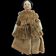 Tiny China Head Doll House Doll with Bun * TLC