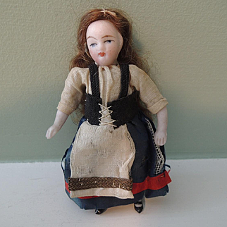Tiny All Bisque German Doll House Doll - Lilliputian Type