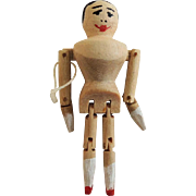 Tiny 1 1/4 Inch Jointed Artist Wooden Doll