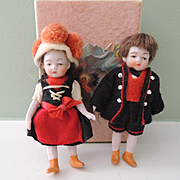 Darling Wee German All Bisque Brother and Sister Children In Box