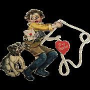 Wonderful German Raphael Tuck Mechanical Valentine with Boy and  Nipping Dog