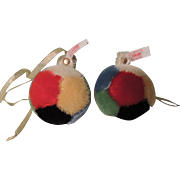 Pair of Colorful Steiff Mohair Christmas Ball Ornaments