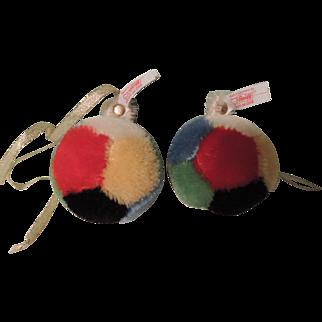 Pair of Colorful Steiff Mohair Christmas Ball Ornaments