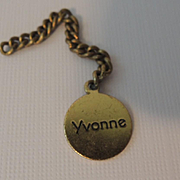 "Tiny Madame Alexander Metal Name tag for Dionne Quint ""Yvonne"""