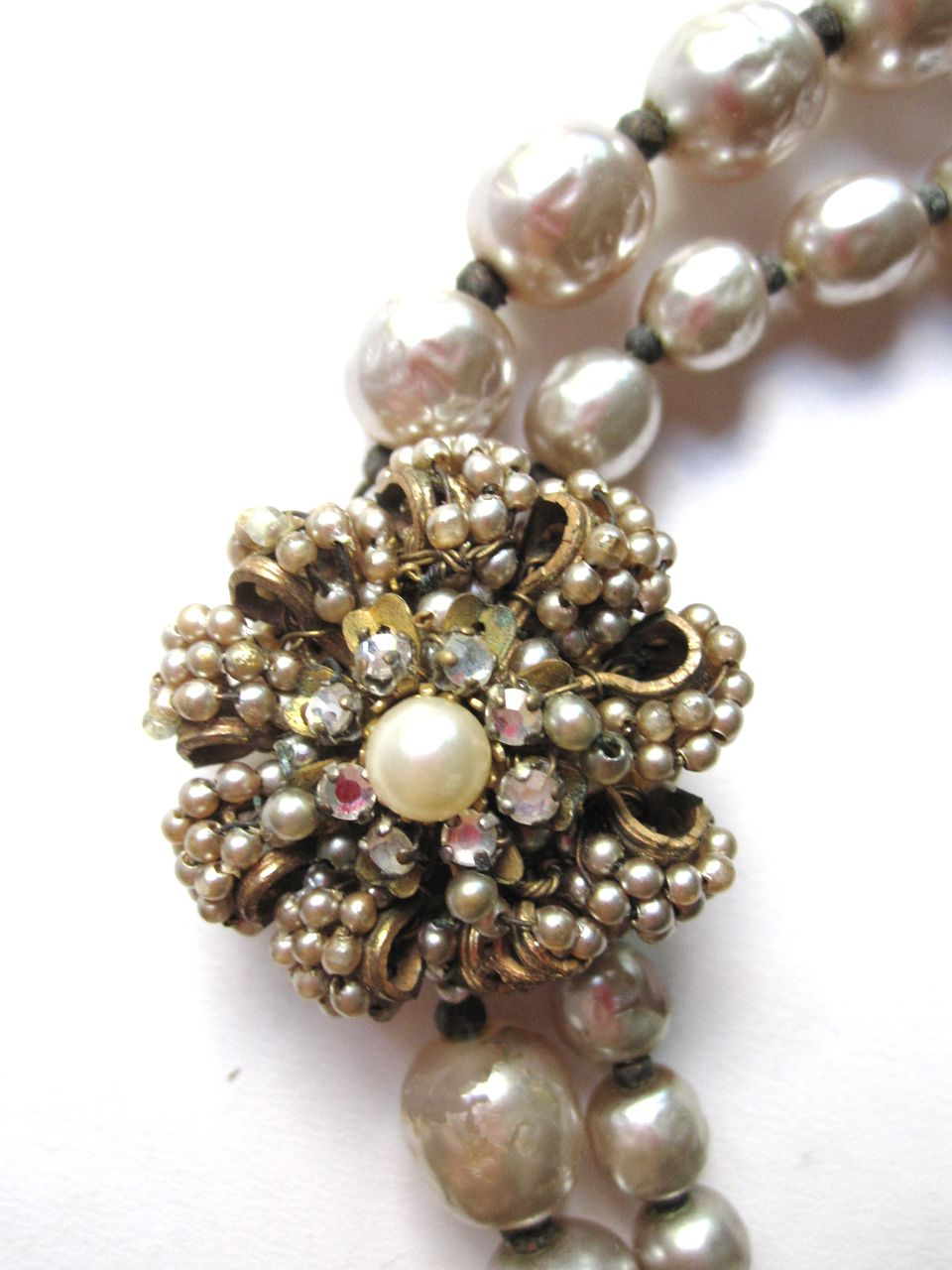 Miriam Haskell Double Strand Pearl Nacre clasp Necklace