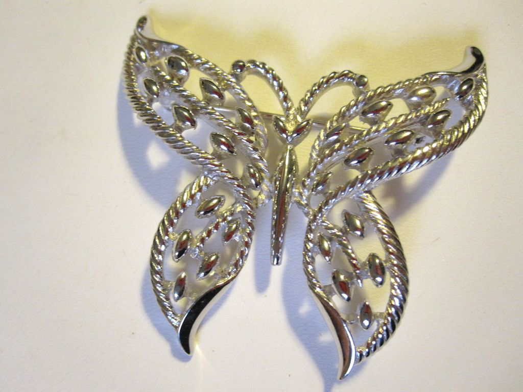 Signed Trifari Filigree Butterfly pin in Silvertone
