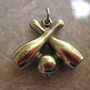 STRRRRIKE!! Vintage Bowling Pins and Ball Charm