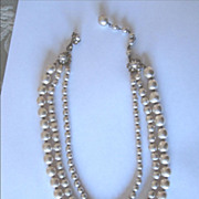 Miriam Haskell Triple Strand Pearl Necklace