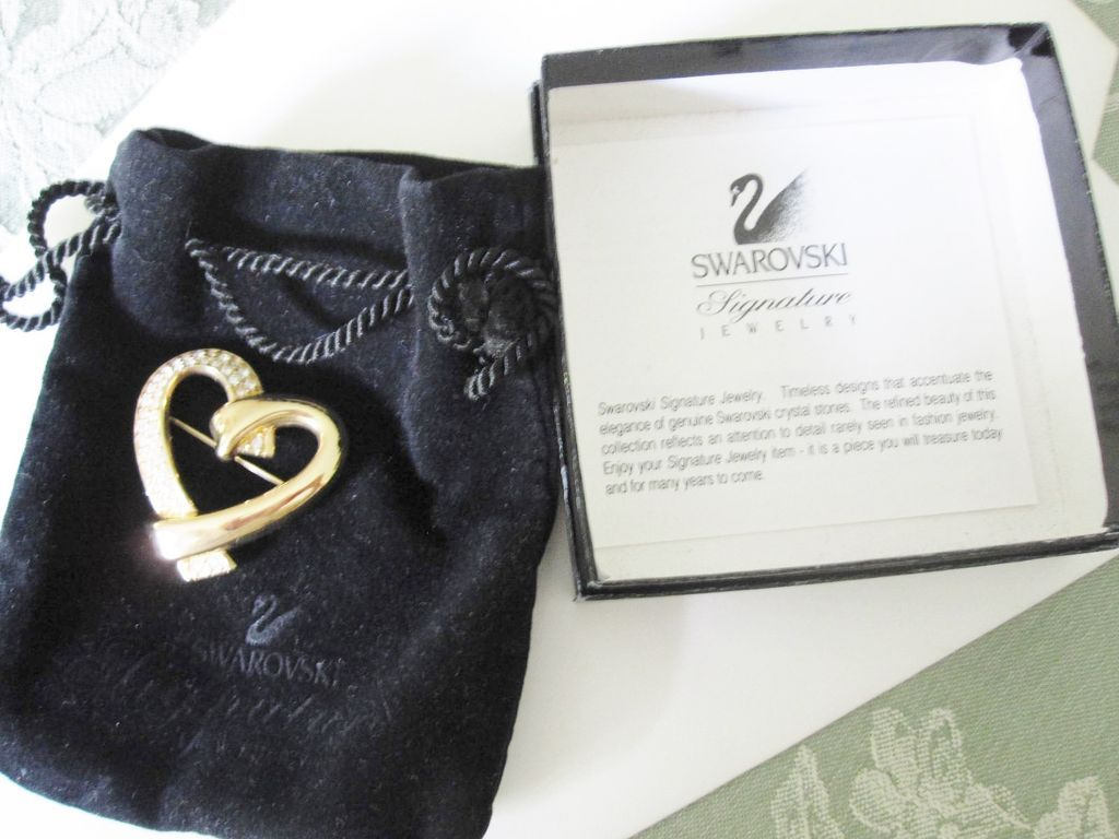 "Swarovski Heart Pin ""Opposites Attract"" With Swan Logo & Original Velvet Pouch"