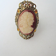 Czechoslovakian Signed Cameo Jeweled Ring