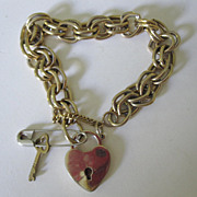 Bracelet With Padlock Heart & Key