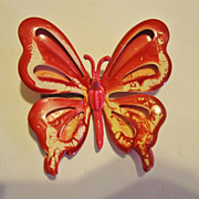 Pretty 1960s Red & White Butterfly Pin