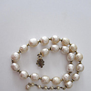 Vintage Jumbo Pearl Miriam Haskell Signed Choker Necklace