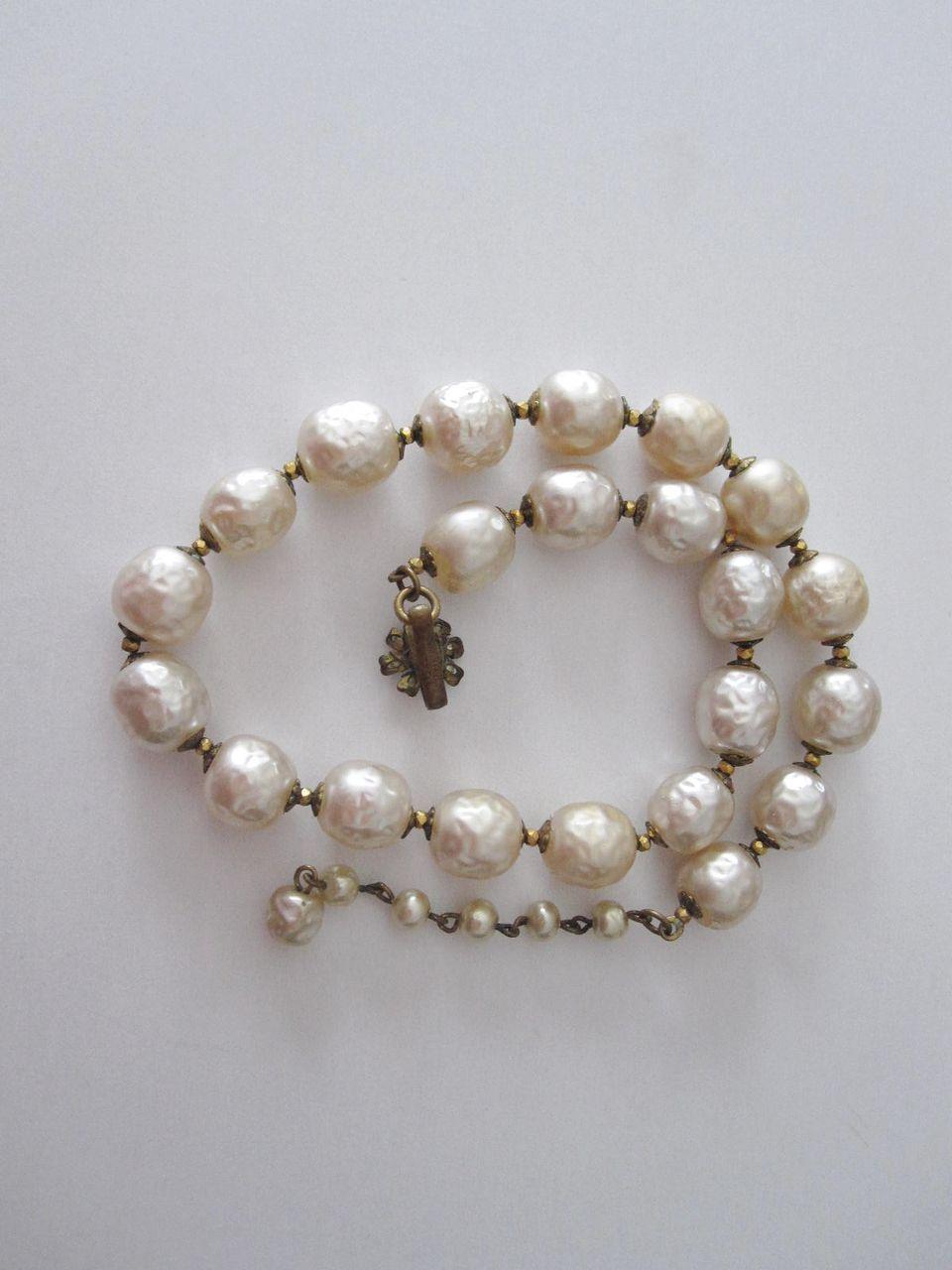 Vintage Jumbo Pearl Miriam Haskell Signed Choker Necklace