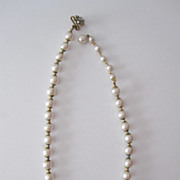 Vintage Miriam Haskell Pearl Choker Necklace, Floral Clasp