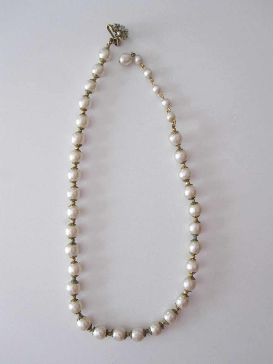 Vintage Miriam Haskell Pearl Choker Necklace Floral Clasp