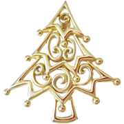 Charming Christmas Tree Pin, unique modern Xmas design