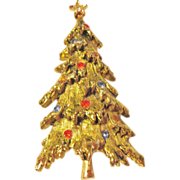 Designer Signed Art Christmas Tree Pin, Laden with Snow