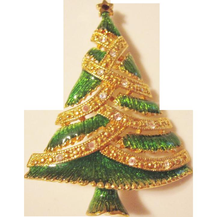 Enameled and Jeweled Xmas Tree Pin