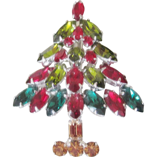 Designer Vintage costume Jewelry Napier Christmas Tree Brooch