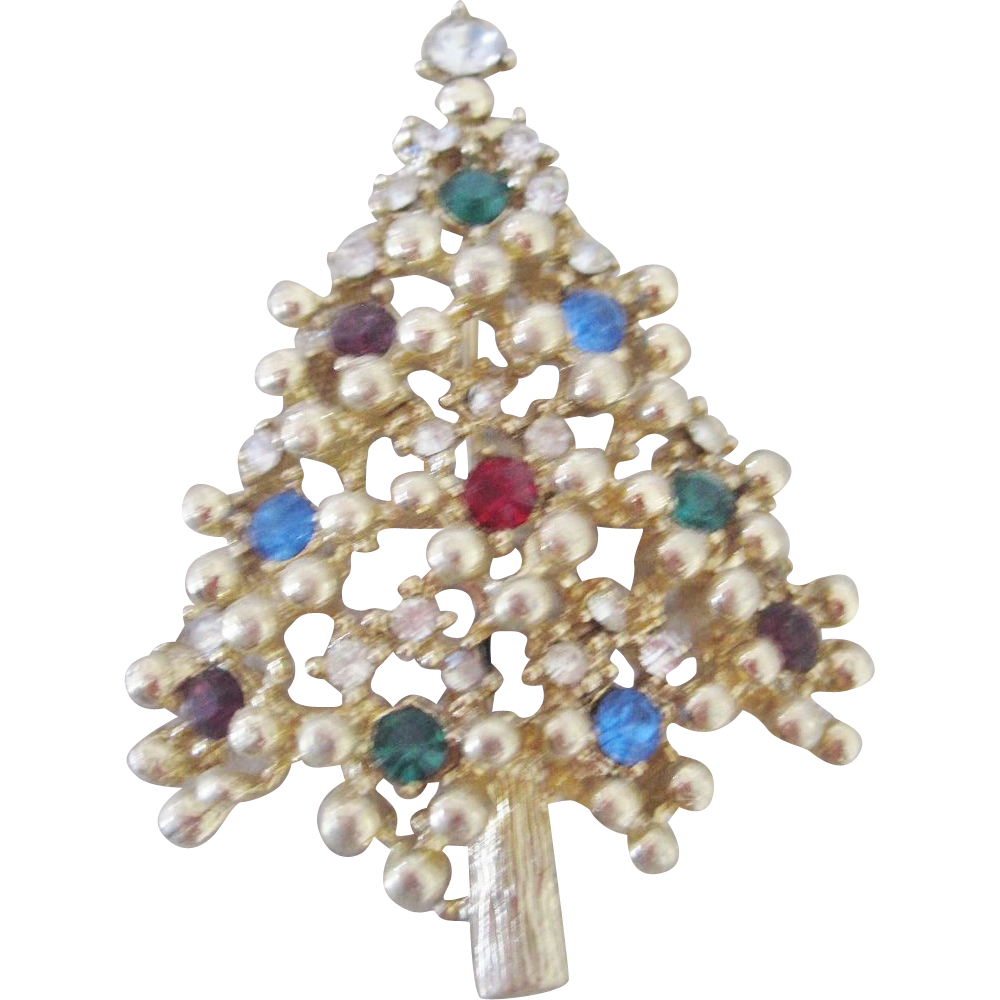 Vintage Christmas Tree Brooch with Gold Ball Settings