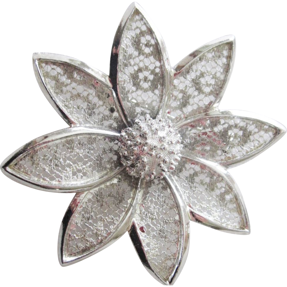 Sterling Silver Filigree lace Brooch, big flower