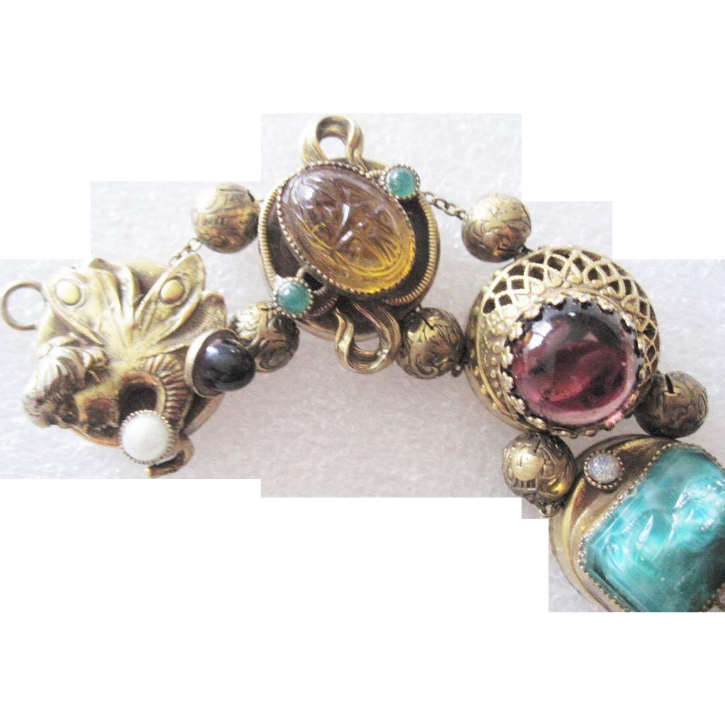 Fairy, Dragon, Gargoyle and Scarab and more! Figural Vintage Slide Bracelet