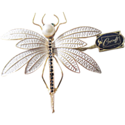 Large jeweled and enameled Corocraft Dragonfly Brooch W/Original Tag
