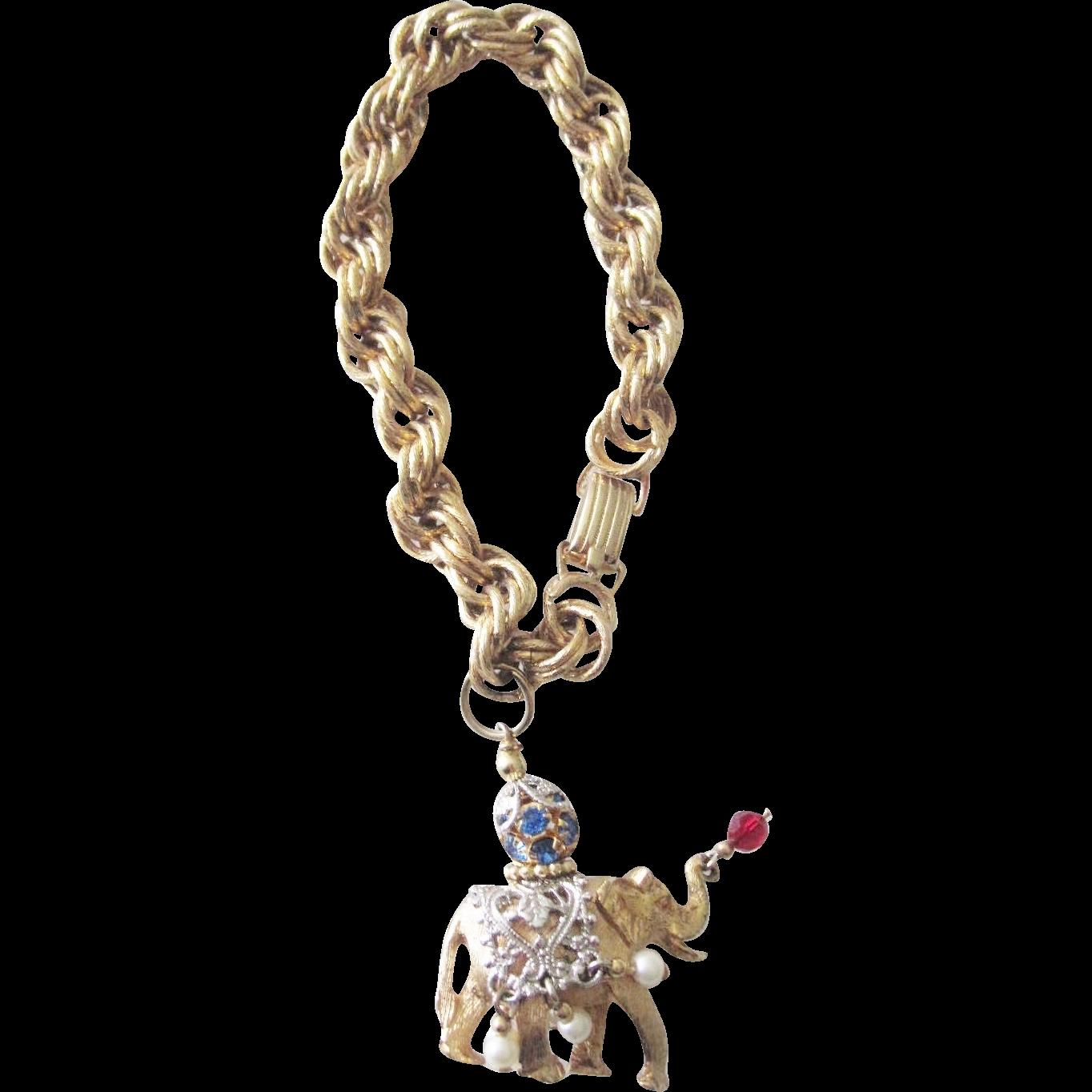 Napier Jeweled Elephant Wrist Charm Bracelet